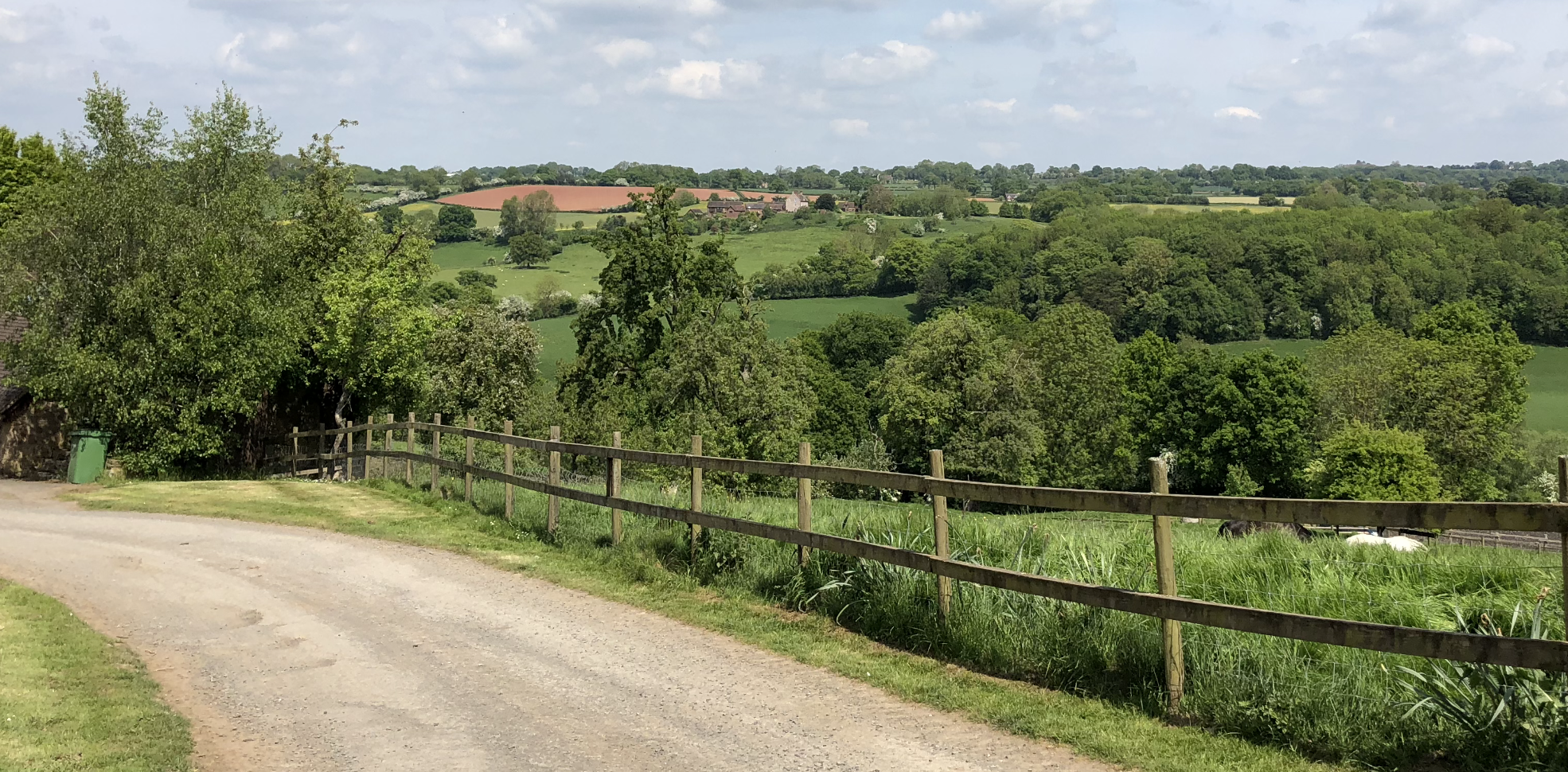The downhill tarmacked drive is edged with green grass; beyond there's a railed fence closing a field of tall grass with two horses slightly in view grazing. The vista beyond is the Severn valley, a beautiful scene of fields, trees and open countryside flowing away until it touches the sky of a typical English summer day.